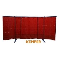 3-częściowa ścianka ochronna z zasłoną foliową Kemper czerwona 70 600 551